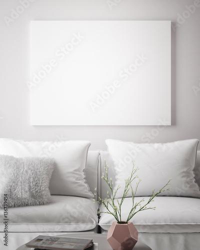 mock up poster frame in hipster interior background, scandinavian style, 3D render, 3D illustration Wall mural