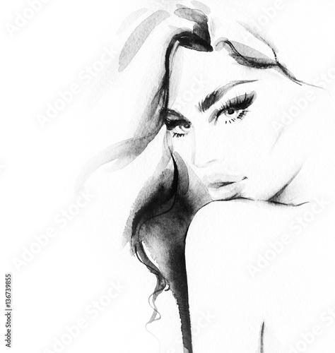 Canvas Prints Watercolor Face Woman face. Fashion illustration. Watercolor painting