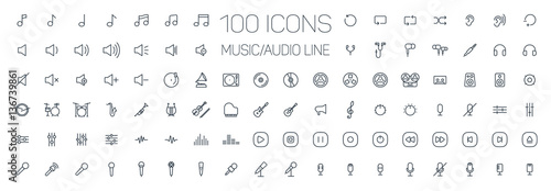 Fotografie, Obraz  music, audio universal thin line 100 icons set on white background, sound, minim