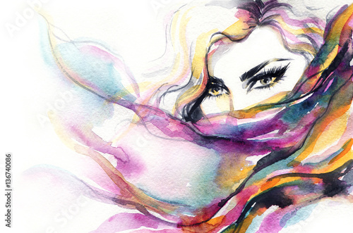 Wall Murals Watercolor Face Woman face. Fashion illustration. Watercolor painting
