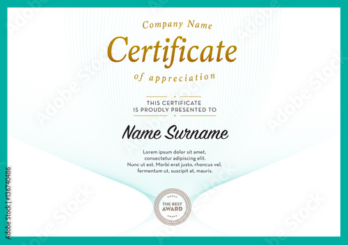 Certificate Template Vector Diploma Border Buy This Stock Vector