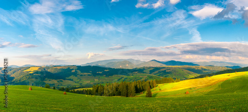 Foto op Aluminium Blauw Panorama Carpathian mountain landscape with blue cloudy sky in summer