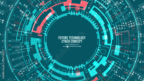 Abstract Futuristic Technological Background Vector. Security Cyberspace. Electronic Data Connect. Global System Communication