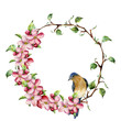 Watercolor wreath with tree branches, apple blossom and bird. Hand painted floral illustration isolated on white background. Spring elements for design.