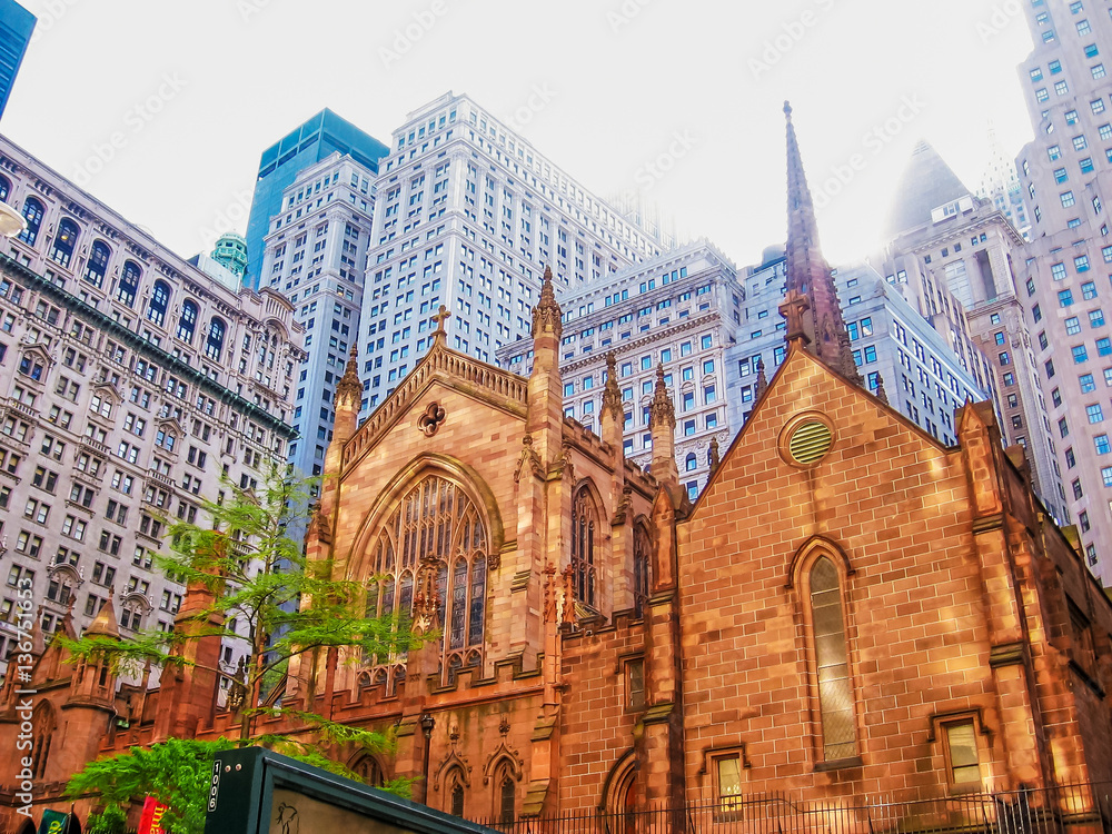 Fototapety, obrazy: Holy Trinity Church , an important Neo-Gothic-style Roman Catholic cathedral of the United States located in midtown Manhattan, New York City