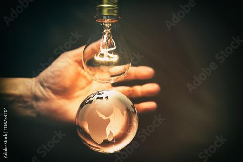 Photo  Light bulb and earth