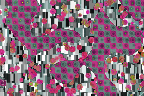 Wide abstract background in Gustav Klimt style  - 136755430