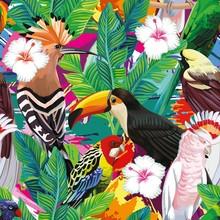 Tropical Bird Leaves Seamless ...