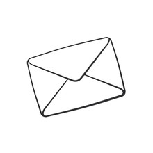 Vector Illustration. Hand Drawn Doodle Of Closed Envelope. Not Read Incoming Message. Cartoon Sketch. Decoration For Greeting Cards, Posters, Emblems