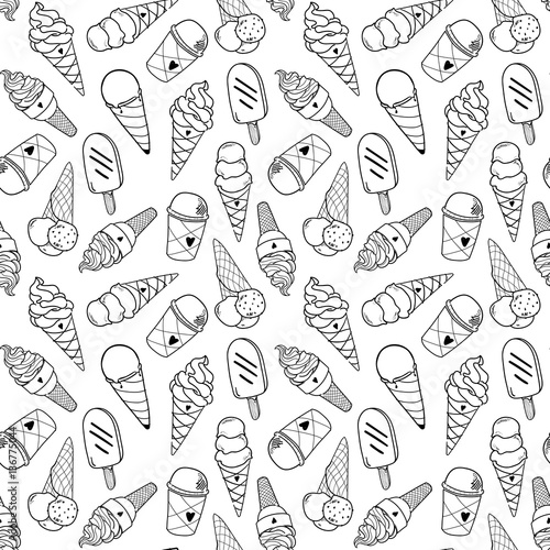 seamless ice cream pattern hand drawn monochrome black and white background ice cream vector ice cream background eps 8 buy this stock vector and explore similar vectors at adobe stock adobe stock seamless ice cream pattern hand drawn