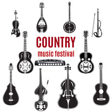 Vector Set Of Country Music Instruments, Black And White Flat Design.