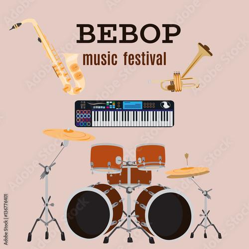 Photo Vector set of bebop jazz music instruments, flat design.