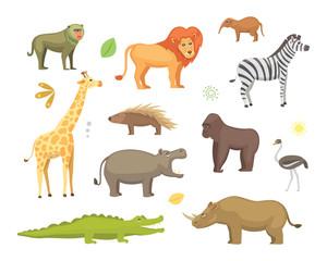 African animals cartoon vector set. elephant, rhino, giraffe, cheetah, zebra, hyena, lion, hippo, crocodile, gorila and outhers. safari isolated illustratio.