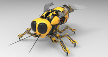 3D Illustration Of A Black And Yellow Mechanical Robot Bee