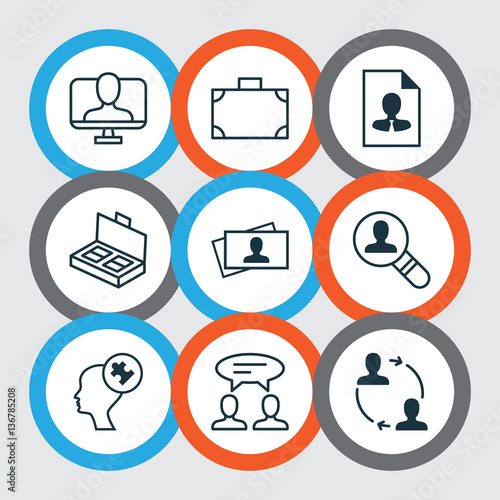 Set Of 9 Business Management Icons  Includes Open Vacancy