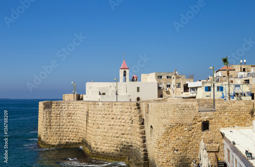 Photo Christian church in the old fortress of Acre, Israel