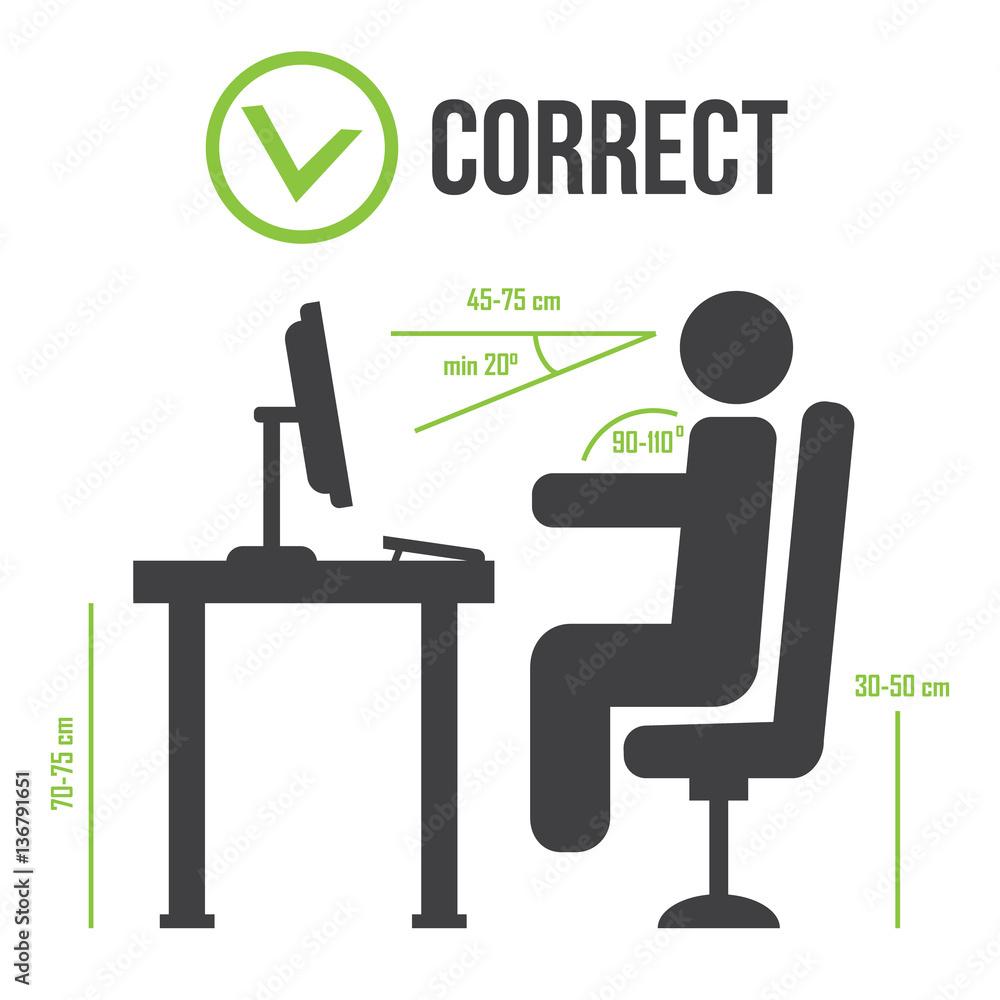 Richtige Sitzhaltung Korrekte Position Von Personen Foto Poster