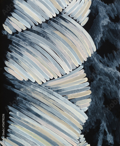An abstract painting on a black background; rope-like low chroma curved strips. - 136793216