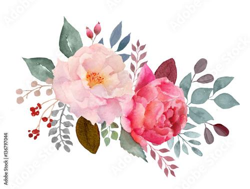 Watercolor floral composition Wallpaper Mural