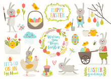 Set Of Cute Easter Cartoon Cha...