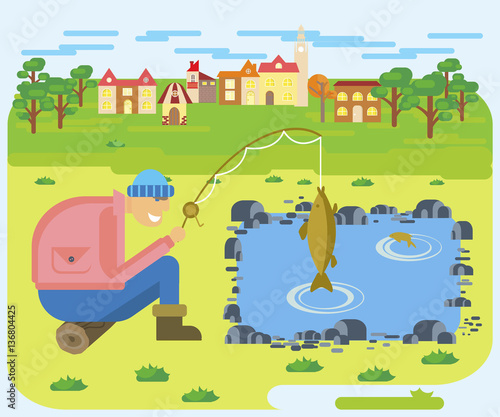 Flat Illustration Of Fishing On A Lake On Cute Village Background