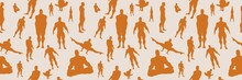Body Building Silhouettes. Bodybuilder Posing. Vector Seamless Background