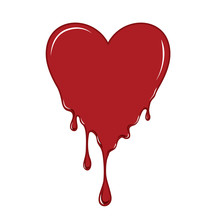 Vector Of Red Heart Bleeding