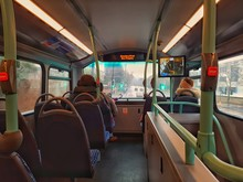 Bus In London Travelin In The Steeet In A Rainy Day