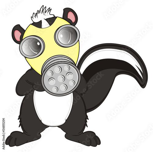 Stand Mask Animal Cartoon Tail Skunk Striped Black Stink
