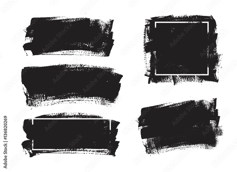 Fototapety, obrazy: Set of universal grunge black paint background with frame. Dirty artistic design elements, boxes, frames for text.