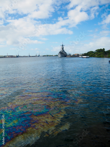 Photo  Oil still floats on the top of the water where it was spilled when the USS Arizona was sunk during the attack on Pearl Harbor, Oahu, Hawaii