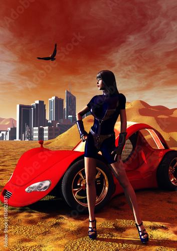 seksowna-zabojca-i-jej-czerwony-samochod-w-srodku-pustynnej-krainy-z-futuryst