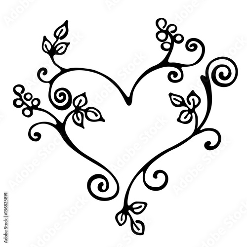 Photo sur Toile Papillons dans Grunge Vector hand drawn illustration, decorative ornamental stylized heart in shape of tree with branch, flowers, leaves, dots. Black and white isolated graphic outline illustration Line drawing silhouette.