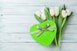 White tulips and gift box