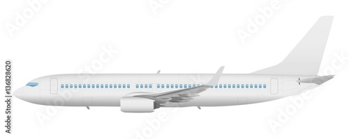 Fotografia  Airplane template vector side view on a white background