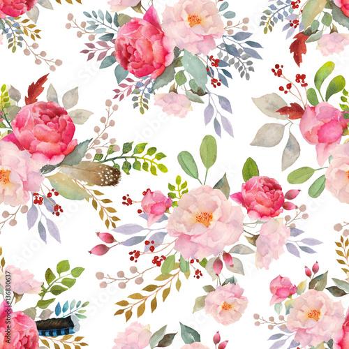 Watercolor roses floral pattern Wallpaper Mural