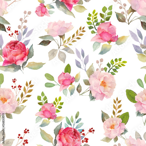 Watercolor roses floral pattern Canvas Print