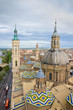 Aerial view of Zaragoza cityscape, Top view of the domes and roof of Lady of the Pillar Cathedral.