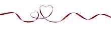 Red Silk Ribbon Hearts And Waves