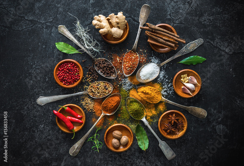 Wall Murals Spices Various herbs and spices