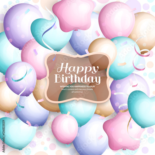 happy birthday greeting card retro vintage pastel party balloons streamers transparent frame with