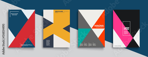 Cool trendy covers design. Colorful modernism. Minimal geometric shapes composition. Futuristic patterns. Eps10 layered vector.