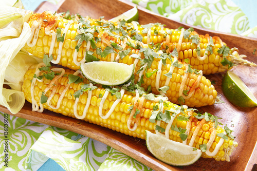 mexican hot grilled corn cobs elote