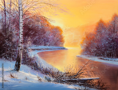 Painting winter forest