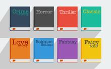 Set Of Fiction Genre Icons Romance, Fairytale, Detective, Adventure, Science Fiction, Horror.