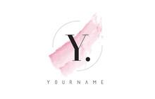 Y Letter Logo With Pastel Watercolor Aquarella Brush.