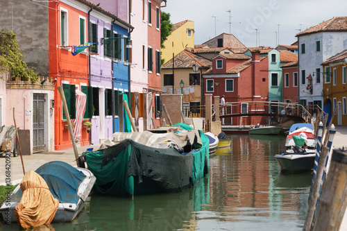 Venice Burano Chanel with Colorful Houses and Old Boats © Alexander