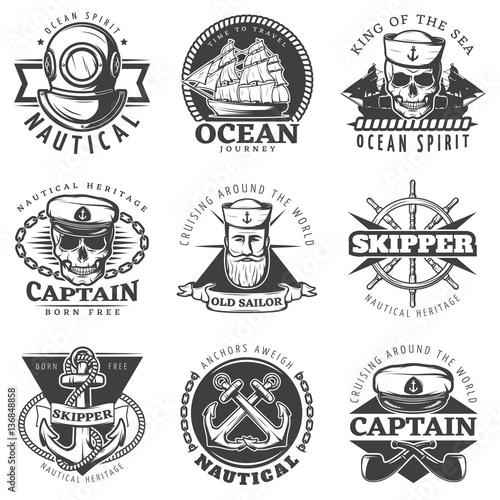 Carta da parati Vintage Sailor Naval Label Set