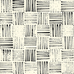 Fototapeta Grunge wicker texture, rustic stamp style seamless vector pattern, black and white