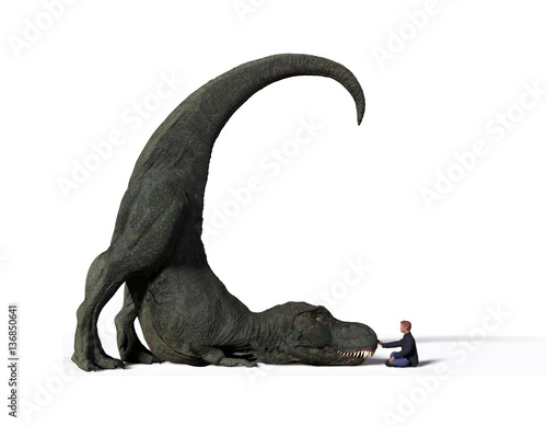 Photo  comparison of the size of an adult Tyrannosaurus rex dinosaur from the Jurassic